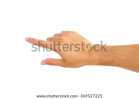 Human hand isolated on white background. - stock photo