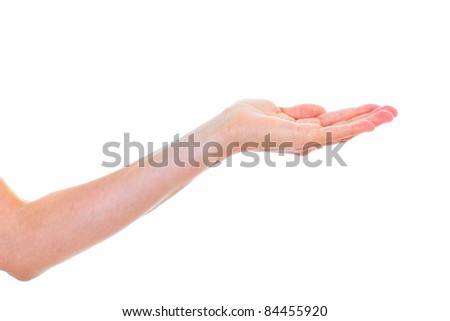 Human hand isolater over white background. Presentation.