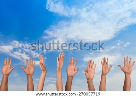 Human Hand. Lots of raised hands - stock photo