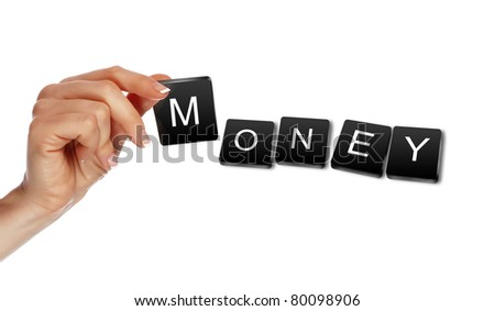 human hand making a business word puzzle - stock photo