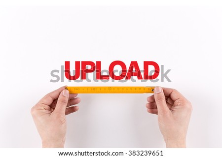 HUMAN HAND MEASURING UPLOAD - stock photo