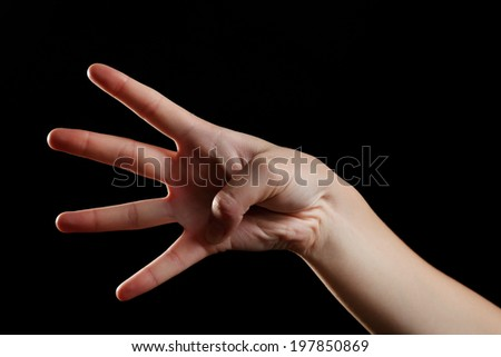 Human hand on black background - stock photo