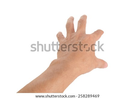 Human hand on white background.