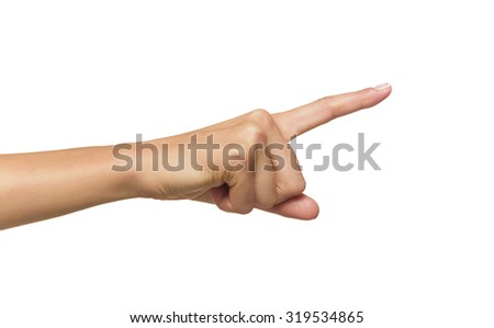 Human hand point with finger isolated on white.