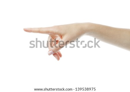 Human hand pointing at something or pressing a button. Isolated on white.