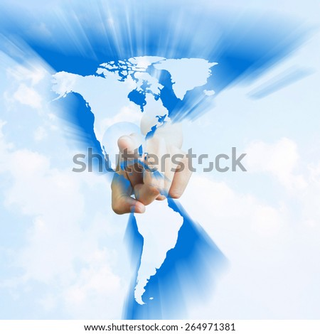 Human Hand Pointing on america in sky background - stock photo