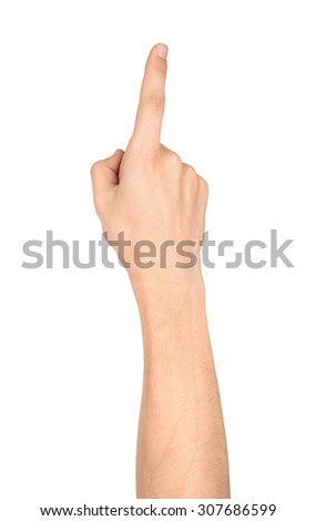 Human hand pointing or touching screen isolated on white background - stock photo