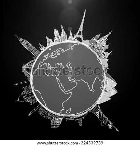 Human hand pointing with finger on Earth planet - stock photo