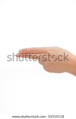 Human hand pointing with two fingers on white background - stock photo