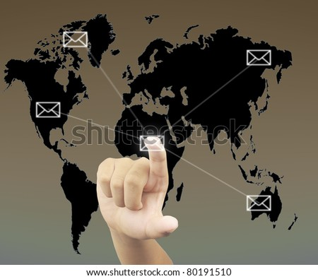 Human hand pressing on mail button - stock photo