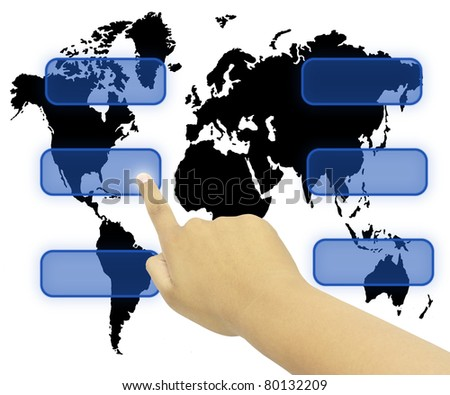 Human Hand pressing touchscreen world wide communication - stock photo