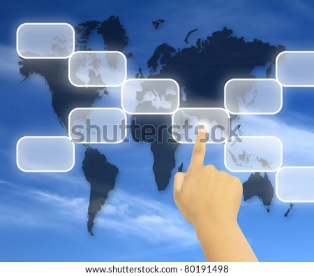 Human hand pushing a button on a touch screen interface - stock photo