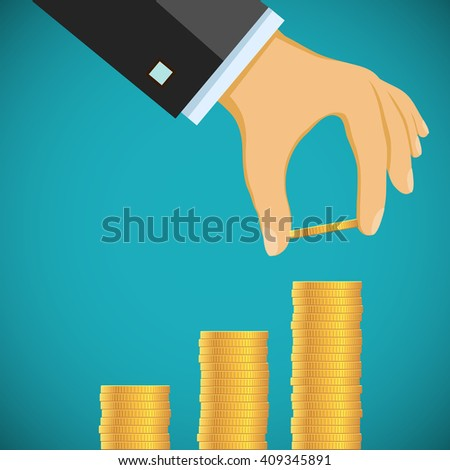 Human hand puts gold coins by a stack. Growth of profit and revenue. Graph and chart. Stock illustration. - stock photo