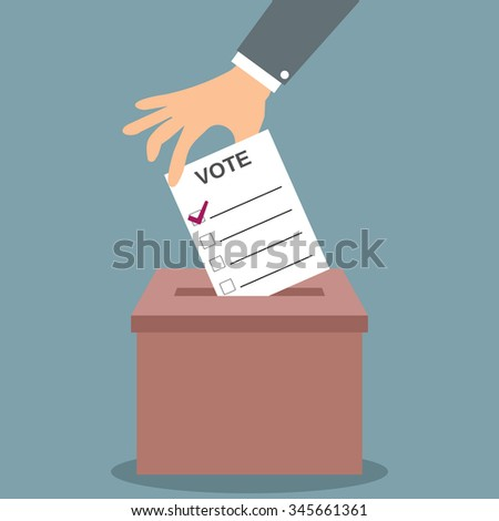 Human hand putting voting paper in the red ballot box. illustration in flat design, infographics web design elements - stock photo