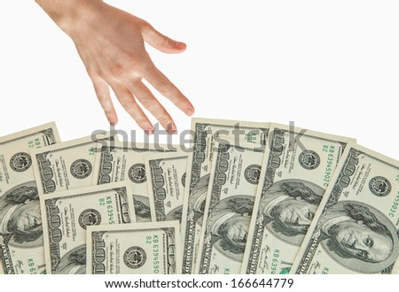 Human hand reaching out for money, isolated on white - stock photo