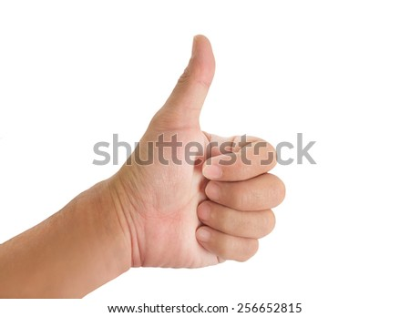 Human hand  show thumb up on white background.