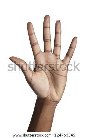 Human hand showing five fingers over a white background