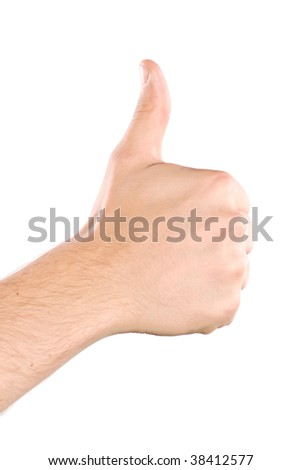 Human hand showing thumbs up isolated on white - stock photo