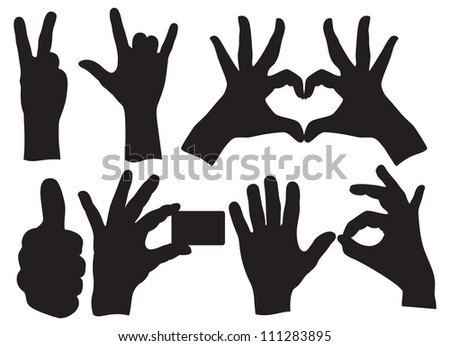 Human Hand Sign collection - stock photo