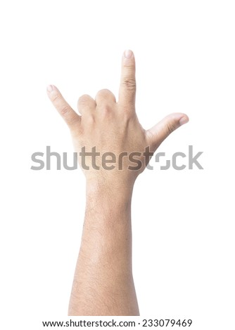 Human hand sign I Love You language gesture isolated on white background. - stock photo