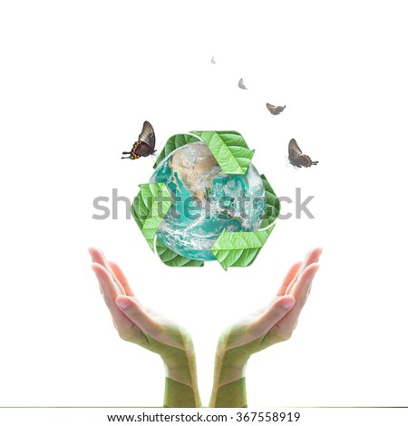 Human hand support bio recycled arrow sign shape world globe tree leaf w/ butterfly isolated on white background: Sustainable development CSR conceptual idea: Elements of this image furnished by NASA - stock photo