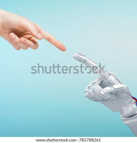 Human hand touching an android hand.