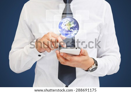 Human hand touching our planet earth glowing. Elements of this image furnished by NASA. - stock photo