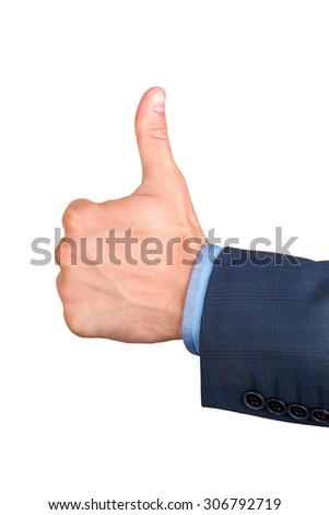 human hand tumb. Isolated on white background - stock photo