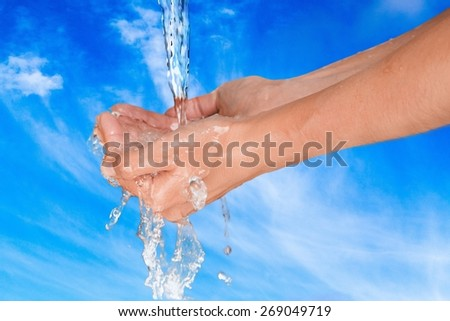 Human Hand. Washing hands - stock photo