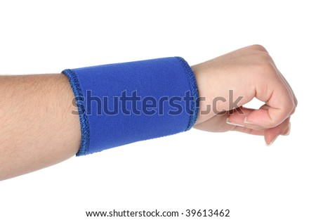 Human hand with a wrist brace, orthopedic equipment over white