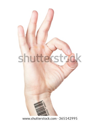 Human hand with bar code gesture is all right everything is OK. Isolated. - stock photo