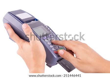 Human Hand With Credit Card Machine Isolated On White Background : With Clipping Path - stock photo