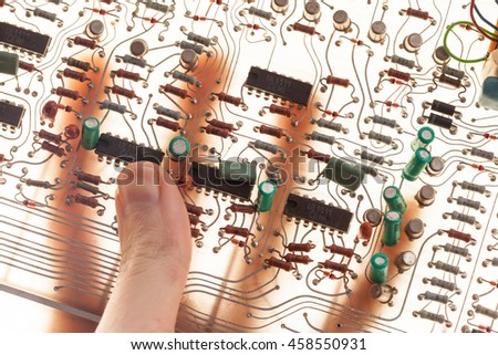 human hand  with electric circuit