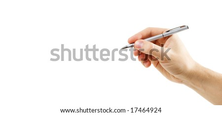 Human hand with pen. - stock photo
