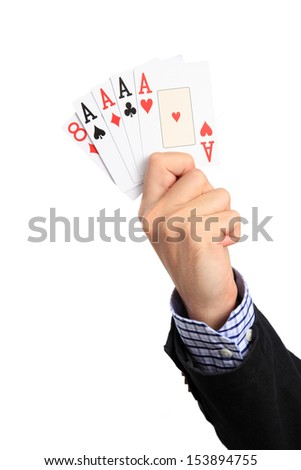 "Human Hand with poker hand ""Four of a kind"", Isolated on white background."