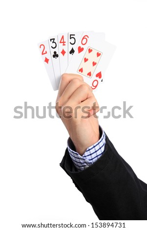 "Human Hand with poker hand ""Straight"", Isolated on white background."