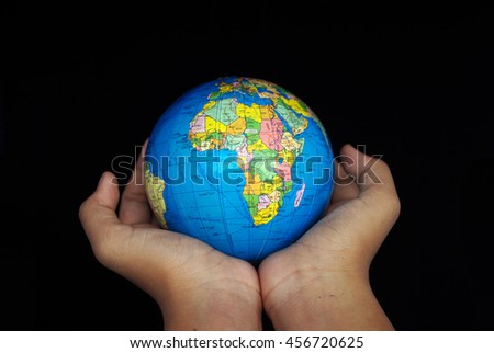 Human hand with protecting the world.