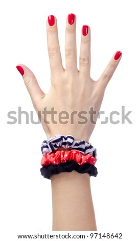 Human hand with red nails - stock photo