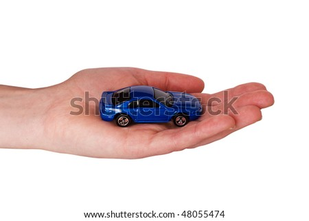 human hand with small car,isolated on white background