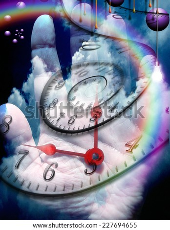 Human hand with time elements - stock photo