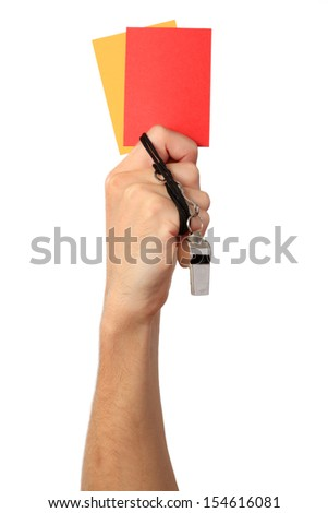 Human Hand with whistle, Red and Yellow card, Isolated on white background. - stock photo