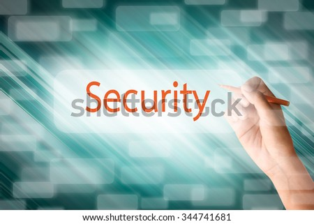 Human hand write security on the screen - stock photo
