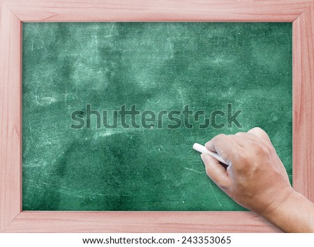 Human hand writing with chalk on green board.