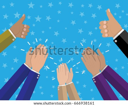 Human hands clapping. Applaud hands and hold thumbs up. illustration in flat style