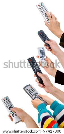 human hands from a remote control on a white background.control panel - stock photo