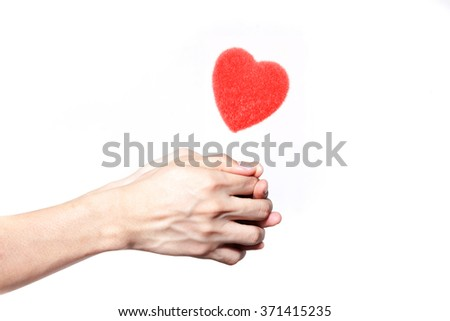 Human hands giving love in white isolated background - giving love concept - stock photo