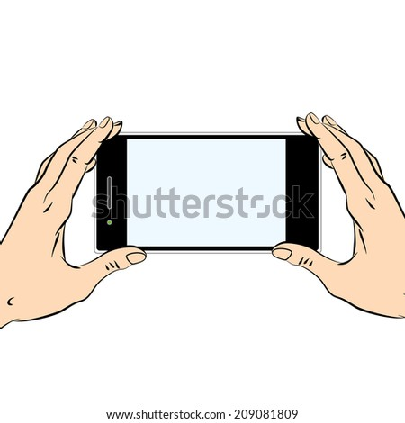 Human hands holding a black smart phone