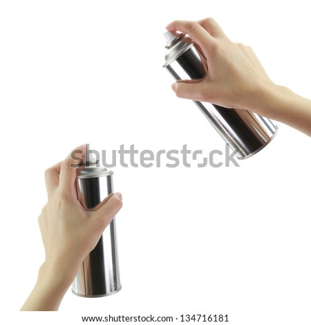 Human hands holding a graffiti Spray can - stock photo