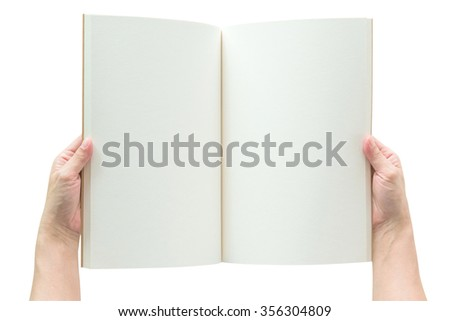 Human hands holding blank open book catalog magazines brochure note template with paper texture copyspace for text isolated on white background w/ clipping path: Empty note pages overhead top view    - stock photo
