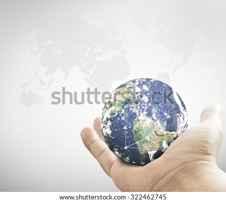 Human hands holding planet. Renew, Forest, CSR, Arbor, Kid, Trust, Work, Help, Unity, Global, Press, Service, Learning, Mission, Rethink, Support, Life, Sport. Elements of this image furnished by NASA - stock photo